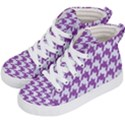 HOUNDSTOOTH1 WHITE MARBLE & PURPLE DENIM Kid s Hi-Top Skate Sneakers View2
