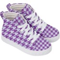 HOUNDSTOOTH1 WHITE MARBLE & PURPLE DENIM Kid s Hi-Top Skate Sneakers View3