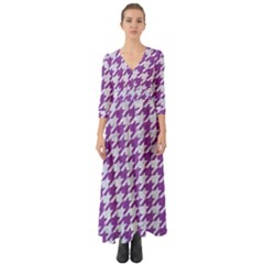 Houndstooth1 White Marble & Purple Denim Button Up Boho Maxi Dress