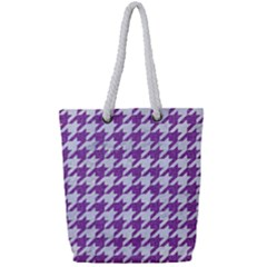 Houndstooth1 White Marble & Purple Denim Full Print Rope Handle Tote (small) by trendistuff