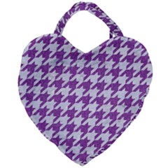 Houndstooth1 White Marble & Purple Denim Giant Heart Shaped Tote