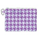 HOUNDSTOOTH1 WHITE MARBLE & PURPLE DENIM Canvas Cosmetic Bag (XL) View1