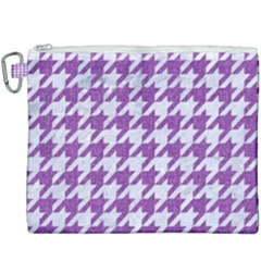 Houndstooth1 White Marble & Purple Denim Canvas Cosmetic Bag (xxxl)