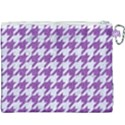 HOUNDSTOOTH1 WHITE MARBLE & PURPLE DENIM Canvas Cosmetic Bag (XXXL) View2