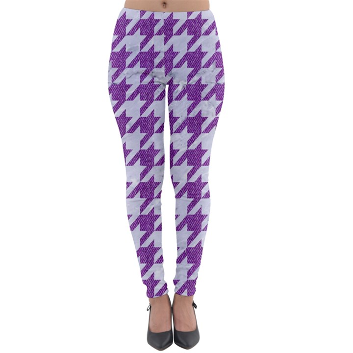 HOUNDSTOOTH1 WHITE MARBLE & PURPLE DENIM Lightweight Velour Leggings