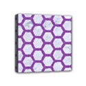 HEXAGON2 WHITE MARBLE & PURPLE DENIM (R) Mini Canvas 4  x 4  View1