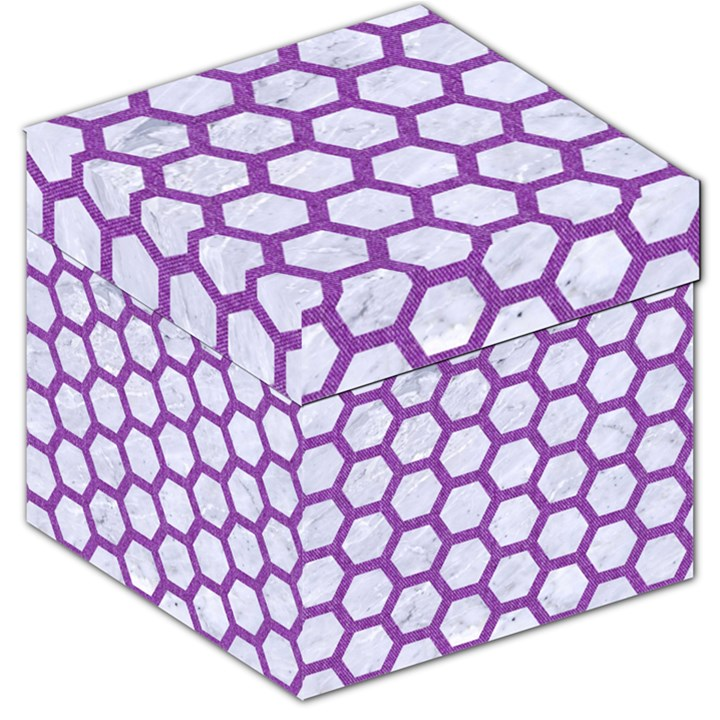 HEXAGON2 WHITE MARBLE & PURPLE DENIM (R) Storage Stool 12