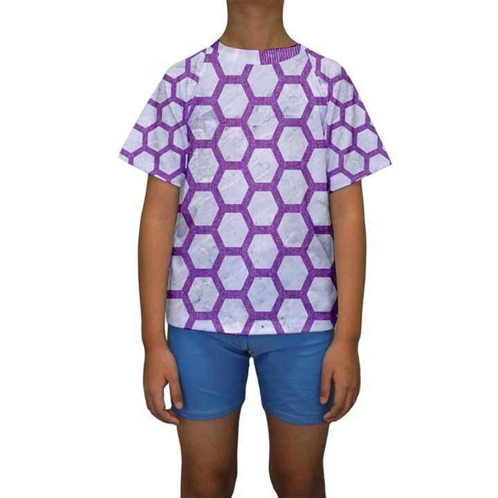 HEXAGON2 WHITE MARBLE & PURPLE DENIM (R) Kids  Short Sleeve Swimwear