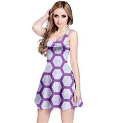 Hexagon2 White Marble & Purple Denim (r) Reversible Sleeveless Dress