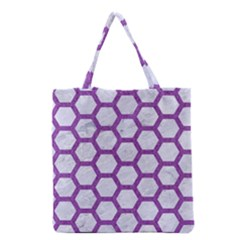 Hexagon2 White Marble & Purple Denim (r) Grocery Tote Bag