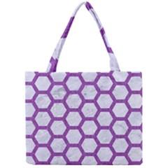 Hexagon2 White Marble & Purple Denim (r) Mini Tote Bag