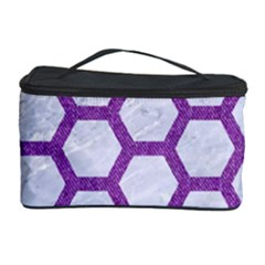 Hexagon2 White Marble & Purple Denim (r) Cosmetic Storage Case by trendistuff
