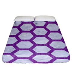 Hexagon2 White Marble & Purple Denim (r) Fitted Sheet (king Size)
