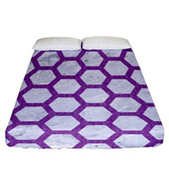 Hexagon2 White Marble & Purple Denim (r) Fitted Sheet (california King Size)