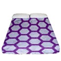 HEXAGON2 WHITE MARBLE & PURPLE DENIM (R) Fitted Sheet (California King Size) View1