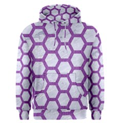 Hexagon2 White Marble & Purple Denim (r) Men s Pullover Hoodie
