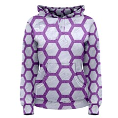 Hexagon2 White Marble & Purple Denim (r) Women s Pullover Hoodie
