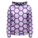 HEXAGON2 WHITE MARBLE & PURPLE DENIM (R) Women s Pullover Hoodie View1