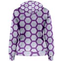 HEXAGON2 WHITE MARBLE & PURPLE DENIM (R) Women s Pullover Hoodie View2