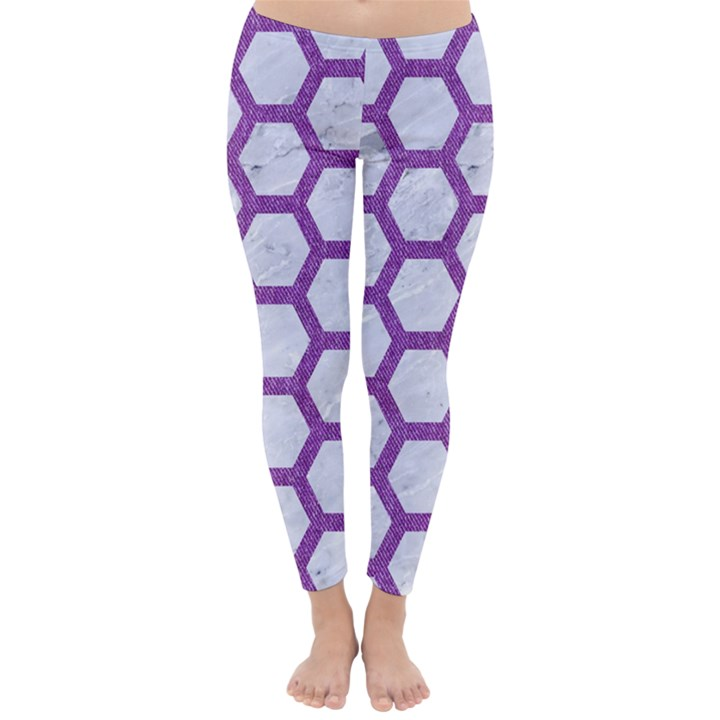 HEXAGON2 WHITE MARBLE & PURPLE DENIM (R) Classic Winter Leggings