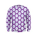 HEXAGON2 WHITE MARBLE & PURPLE DENIM (R) Kids  Sweatshirt View1