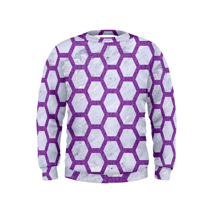 HEXAGON2 WHITE MARBLE & PURPLE DENIM (R) Kids  Sweatshirt