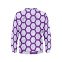 HEXAGON2 WHITE MARBLE & PURPLE DENIM (R) Kids  Sweatshirt View2