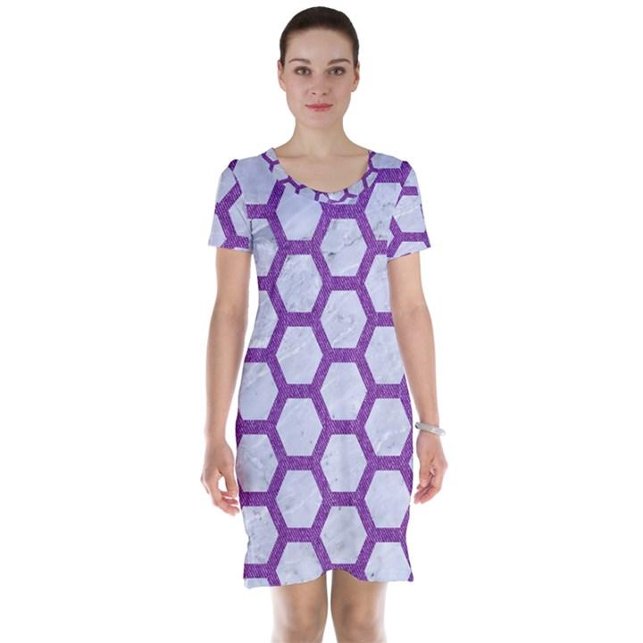 HEXAGON2 WHITE MARBLE & PURPLE DENIM (R) Short Sleeve Nightdress