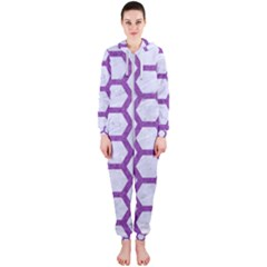 Hexagon2 White Marble & Purple Denim (r) Hooded Jumpsuit (ladies)  by trendistuff