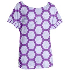 Hexagon2 White Marble & Purple Denim (r) Women s Oversized Tee by trendistuff