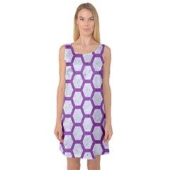 Hexagon2 White Marble & Purple Denim (r) Sleeveless Satin Nightdress