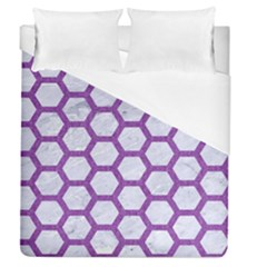 Hexagon2 White Marble & Purple Denim (r) Duvet Cover (queen Size) by trendistuff