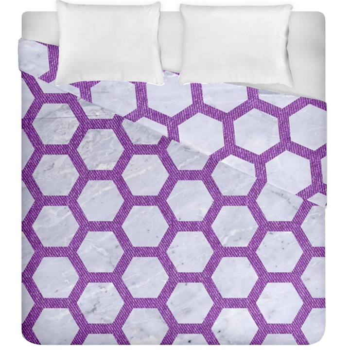 HEXAGON2 WHITE MARBLE & PURPLE DENIM (R) Duvet Cover Double Side (King Size)