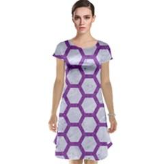 Hexagon2 White Marble & Purple Denim (r) Cap Sleeve Nightdress