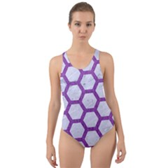 Hexagon2 White Marble & Purple Denim (r) Cut Out Back One Piece Swimsuit