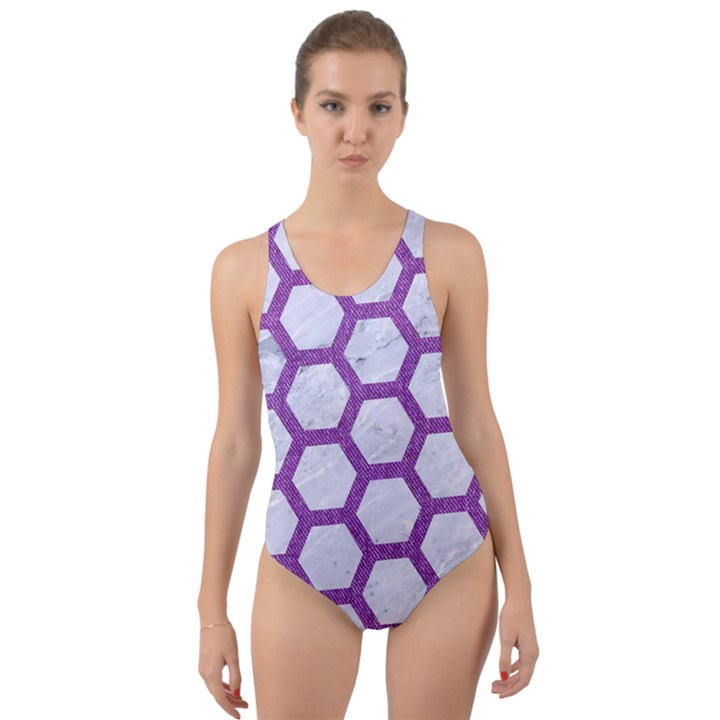 HEXAGON2 WHITE MARBLE & PURPLE DENIM (R) Cut-Out Back One Piece Swimsuit