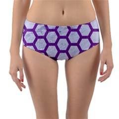 Hexagon2 White Marble & Purple Denim (r) Reversible Mid Waist Bikini Bottoms