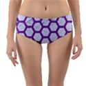 HEXAGON2 WHITE MARBLE & PURPLE DENIM (R) Reversible Mid-Waist Bikini Bottoms View1