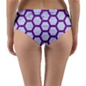 HEXAGON2 WHITE MARBLE & PURPLE DENIM (R) Reversible Mid-Waist Bikini Bottoms View4
