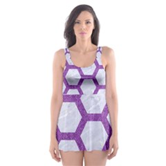 Hexagon2 White Marble & Purple Denim (r) Skater Dress Swimsuit