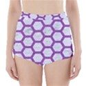 HEXAGON2 WHITE MARBLE & PURPLE DENIM (R) High-Waisted Bikini Bottoms View1