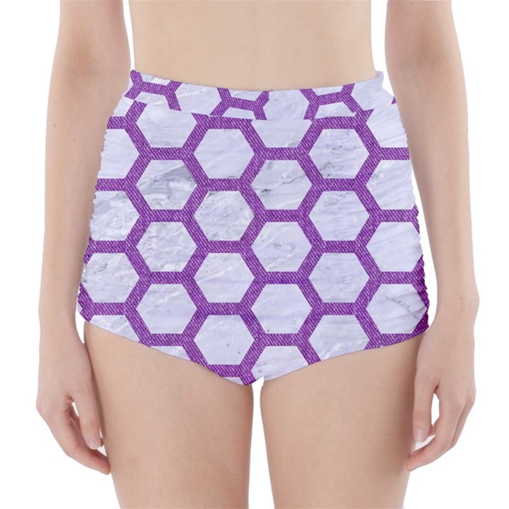 HEXAGON2 WHITE MARBLE & PURPLE DENIM (R) High-Waisted Bikini Bottoms