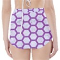 HEXAGON2 WHITE MARBLE & PURPLE DENIM (R) High-Waisted Bikini Bottoms View2