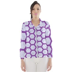 Hexagon2 White Marble & Purple Denim (r) Wind Breaker (women)