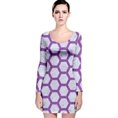 Hexagon2 White Marble & Purple Denim (r) Long Sleeve Velvet Bodycon Dress