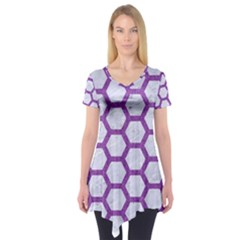 Hexagon2 White Marble & Purple Denim (r) Short Sleeve Tunic