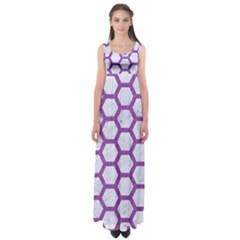 Hexagon2 White Marble & Purple Denim (r) Empire Waist Maxi Dress