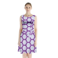 Hexagon2 White Marble & Purple Denim (r) Sleeveless Waist Tie Chiffon Dress