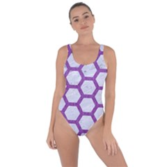 Hexagon2 White Marble & Purple Denim (r) Bring Sexy Back Swimsuit