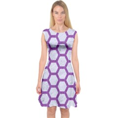 Hexagon2 White Marble & Purple Denim (r) Capsleeve Midi Dress
